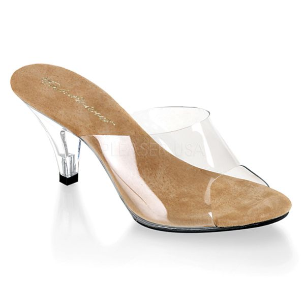 Durchsichtige High-Heel Pantolette mit beigefarbener Lederinnensohle BELLE-301